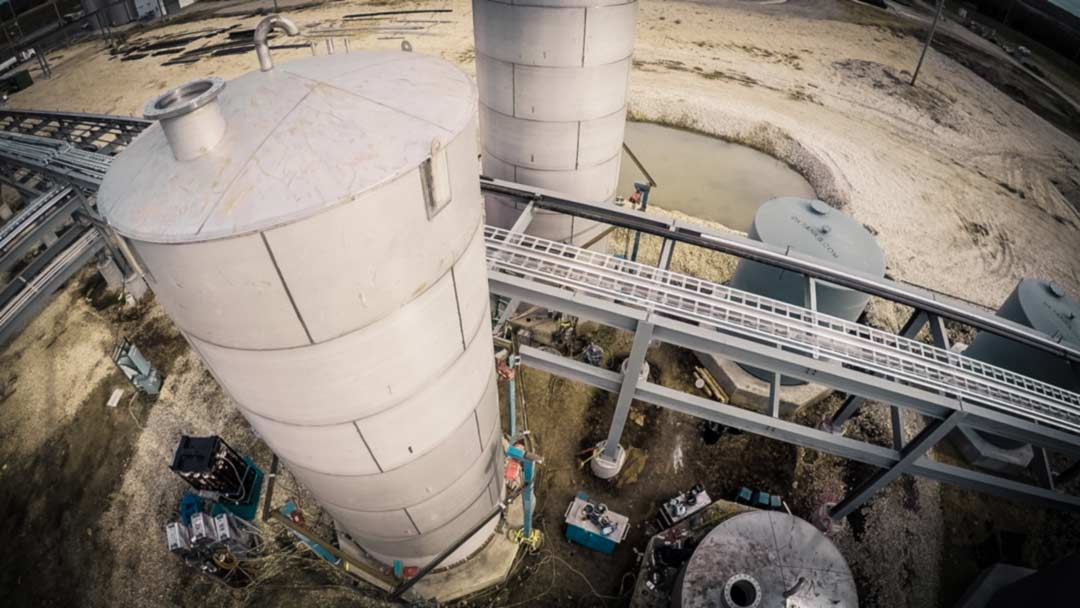 Aerial shot of storage tanks installed by Gilbert Industries